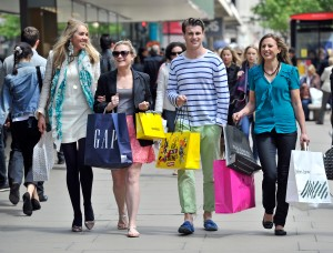 Shoppers on Oxford Street London  May 2012